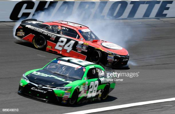 Cale Conley driver of the Merchant Services Ltd Toyota spins during the NASCAR Xfinity Series Hisense 4K TV 300 at Charlotte Motor Speedway on May 27...