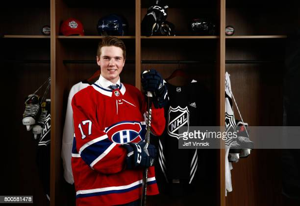 Cale Fleury 87th overall pick of the Montreal Canadiens poses for a portrait during the 2017 NHL Draft at United Center on June 24 2017 in Chicago...