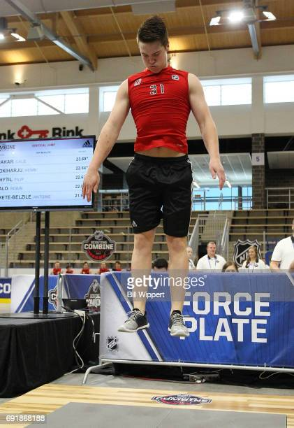 Cale Fleury jumps for the ForcePlate test during the NHL Combine at HarborCenter on June 3 2017 in Buffalo New York