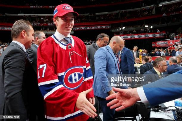 Cale Fleury meets with executives after being selected 87th overall by the Montreal Canadiens during the 2017 NHL Draft at the United Center on June...