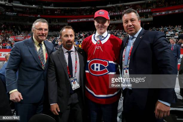 Cale Fleury poses for photos after being selected 87th overall by the Montreal Canadiens during the 2017 NHL Draft at the United Center on June 24...