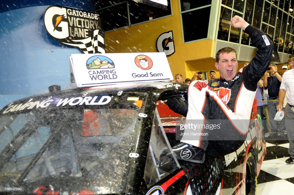 Cale Gale, driver of the #33 Rheem Chevrolet, celebrates in Victory Lane after winning the NASCAR Camping World Truck Series Ford EcoBoost 200 at Homestead-Miami Speedway on November 16, 2012 in Homestead, Florida.