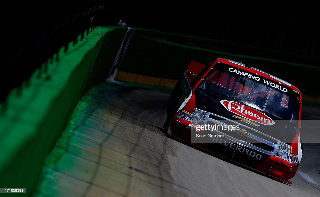 Cale Gale, driver of the #30 Rheem Chevrolet, practices for the NASCAR Camping World Truck Series UNOH 225 at Kentucky Speedway on June 27, 2013 in Sparta, Kentucky.
