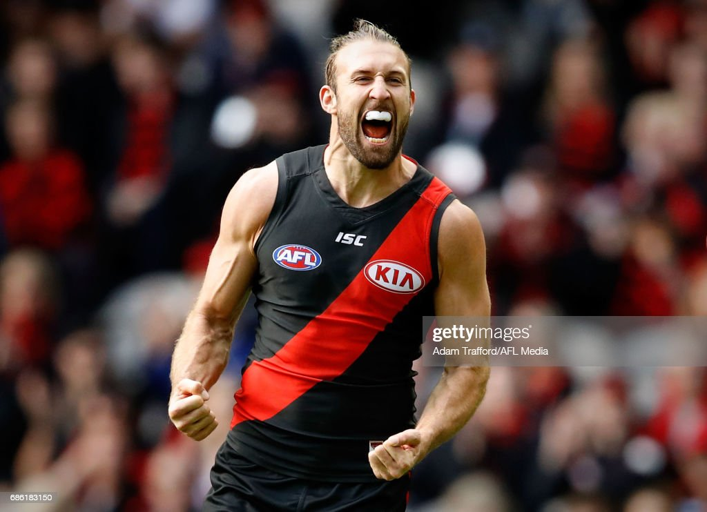 Cale Hooker of the Bombers celebrates a goal during the 2017 AFL round 09 match between the Essendon Bombers and the West Coast Eagles at Etihad Stadium on May 21, 2017 in Melbourne, Australia.