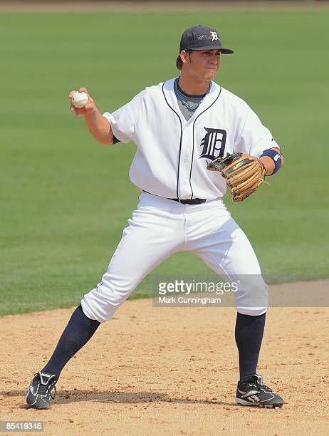Cale Iorg of the Detroit Tigers fields against the New York Mets during the spring training game at Joker Marchant Stadium on March 13 2009 in...