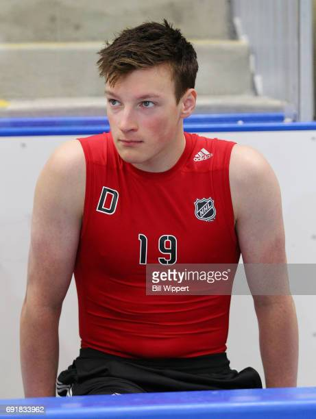 Cale Makar awaits his turn during the NHL Combine at HarborCenter on June 3 2017 in Buffalo New York