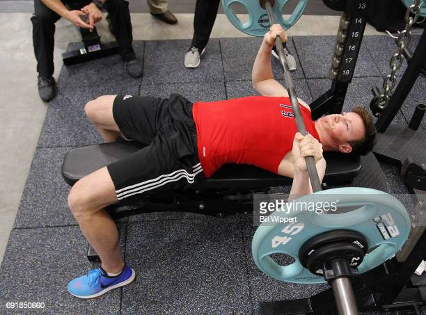 Cale Makar Bench Presses during the NHL Combine at HarborCenter on June 3 2017 in Buffalo New York