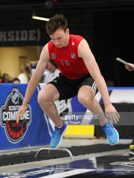 Cale Makar does the Long Jump during the NHL Combine at HarborCenter on June 3 2017 in Buffalo New York