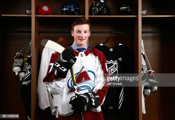 Cale Makar fourth overall pick of the Colorado Avalanche poses for a portrait during Round One of the 2017 NHL Draft at United Center on June 23 2017...