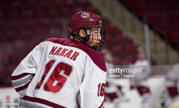 Cale Makar of the Massachusetts Minutemen warms up before NCAA hockey against the Providence College Friars at the Mullins Center on November 9 2017...