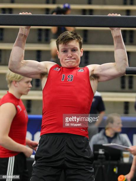 Cale Makar performs PullUps during the NHL Combine at HarborCenter on June 3 2017 in Buffalo New York