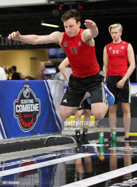 Cale Makar performs the LongJump during the NHL Combine at HarborCenter on June 3 2017 in Buffalo New York