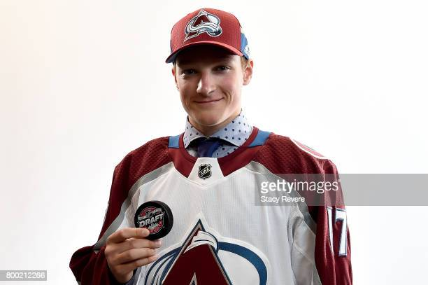 Cale Makar poses for a portrait after being selected fourth overall by the Colorado Avalanche during the 2017 NHL Draft at the United Center on June...