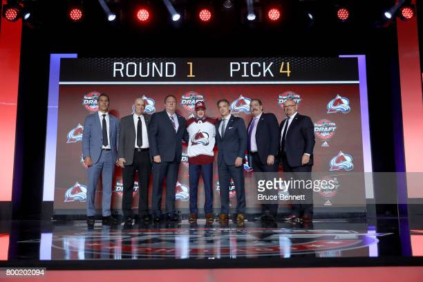 Cale Makar poses for photos after being selected fourth overall by the Colorado Avalanche during the 2017 NHL Draft at the United Center on June 23...