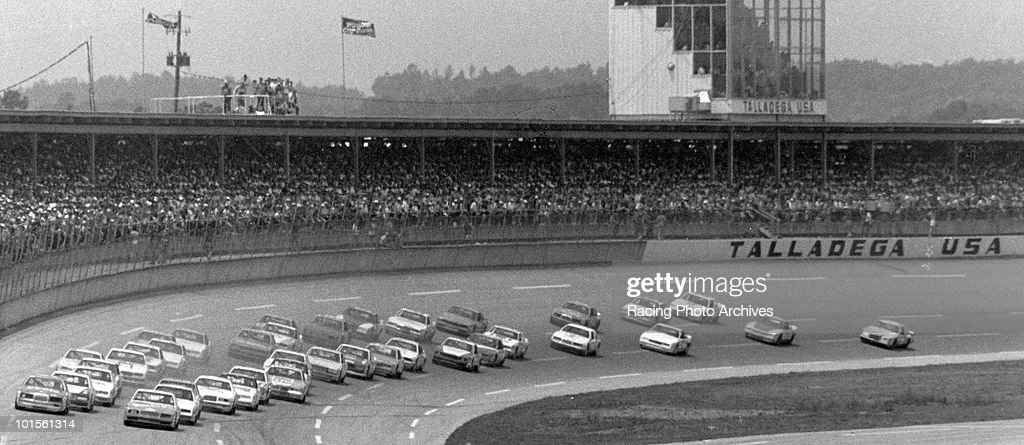 Cale Yaborough leads the filed during the start of the Winston 500. Yarborough would finish in first place and take home $42,300 for the race.