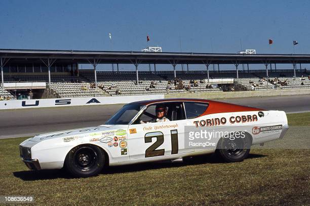 Cale Yarborough with the Woods Brothers NASCAR Cup Ford Torino Cobra at Daytona International Speedway