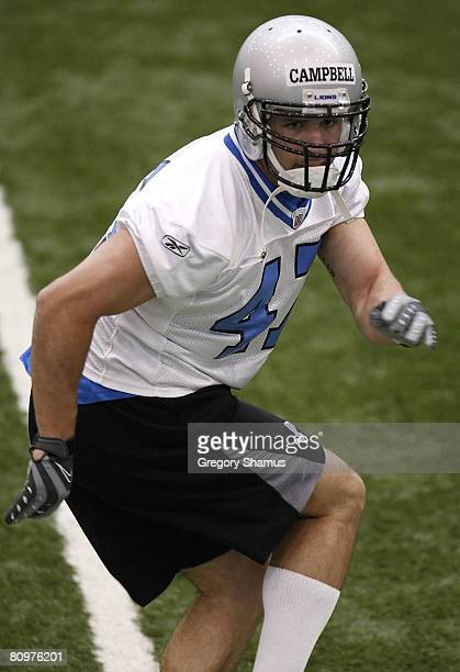 Caleb Campbell of the Detroit Lions does a drill during rookie training camp at the Detroit Lions Headquarters and Training Facility on May 3 2008 in...