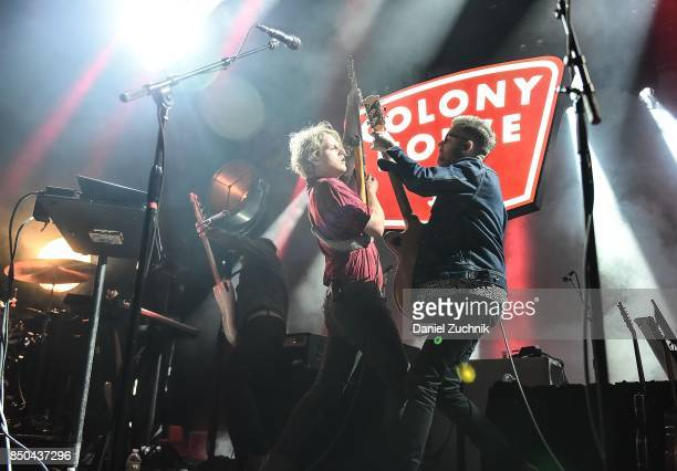 Caleb Chapman and Scott Mills of Colony House perform during the Mutemath with Romes and Colony House in Concert at Brooklyn Steel on September 20...