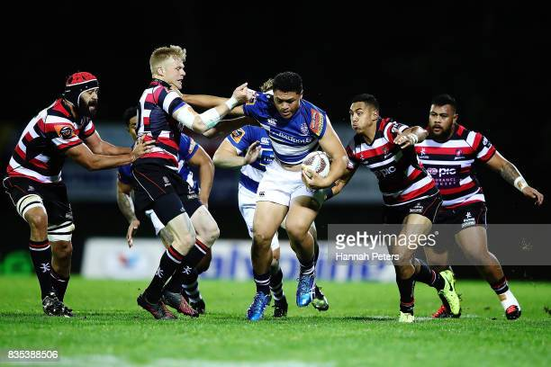 Caleb Clarke of Auckland charges forward during the round one Mitre 10 Cup match between Counties Manukau and Auckland at ECOLight Stadium on August...