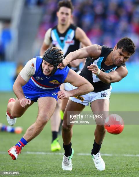 Caleb Daniel of the Bulldogs and Jake Neade of the Power compete for the ball during the round 22 AFL match between the Western Bulldogs and the Port...