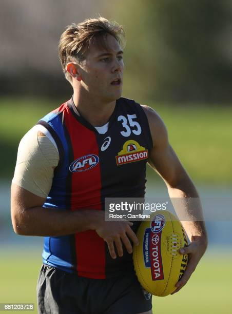 Caleb Daniel of the Bulldogs looks on during a Western Bulldogs AFL training session at Whitten Oval on May 10 2017 in Melbourne Australia