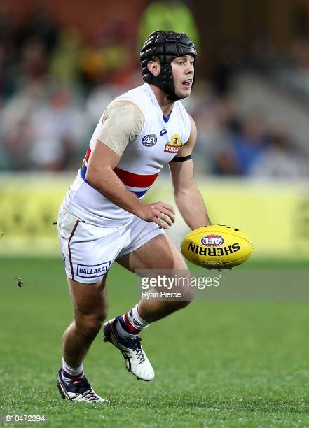 Caleb Daniel of the Bulldogs looks upfield during the round 16 AFL match between the Adelaide Crows and the Western Bulldogs at Adelaide Oval on July...
