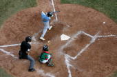 Caleb Duhay of the United States hits an RBI single in the fifth inning against Mexico during the Little League World Series Championship game at...