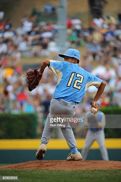 Caleb Duhay of the Waipio Little League team pitches during the World Series Championship game against the Matamoros Little League team at Lamade...
