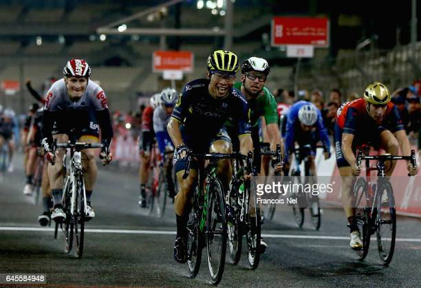 Caleb Ewan of Australia and OricaScott celebrates after winning stage four of the 2017 Abu Dhabi Tour at Yas Marina Circuit on February 26 2017 in...