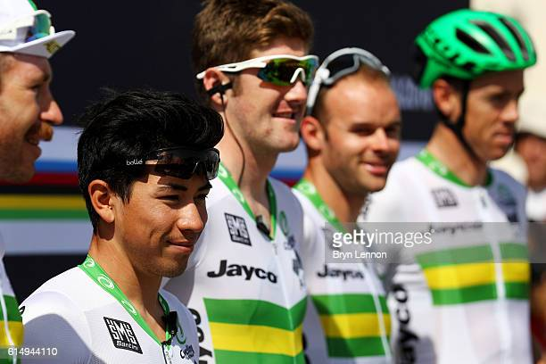 Caleb Ewan of Australia looks on next to his teammates before the start of the Elite Men's Road Race on day eight of the UCI Road World Championships...