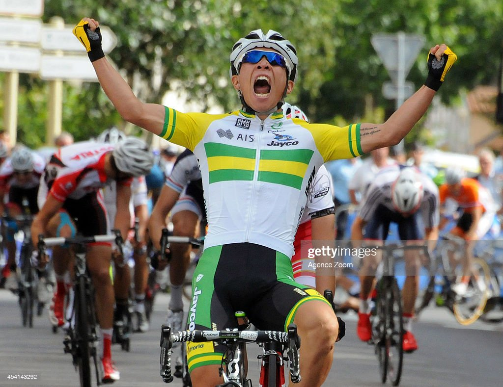 Caleb Ewan of Australia of Team Orica-GreenEDGE celebrates during Stage Two of the Tour de l'Avenir on August 25, 2014 in Brioude, France.