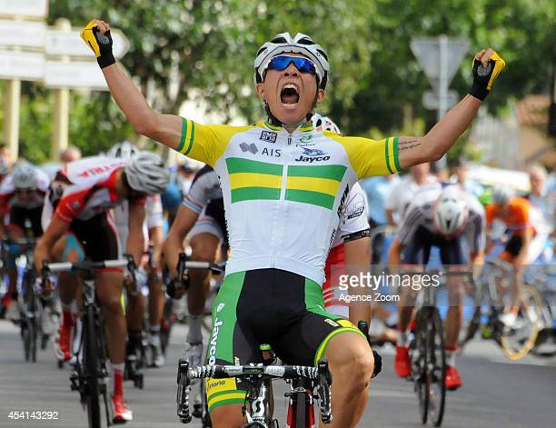 Caleb Ewan of Australia of Team OricaGreenEDGE celebrates during Stage Two of the Tour de l'Avenir on August 25 2014 in Brioude France