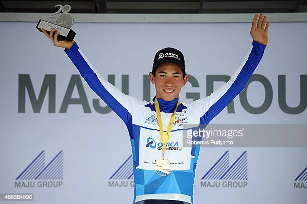 Caleb Ewan of Orica Greenedge celebrates on the podium after winning Blue jersey during Stage 8 of the 2015 Le Tour de Langkawi from Kuala Kubu Bharu...