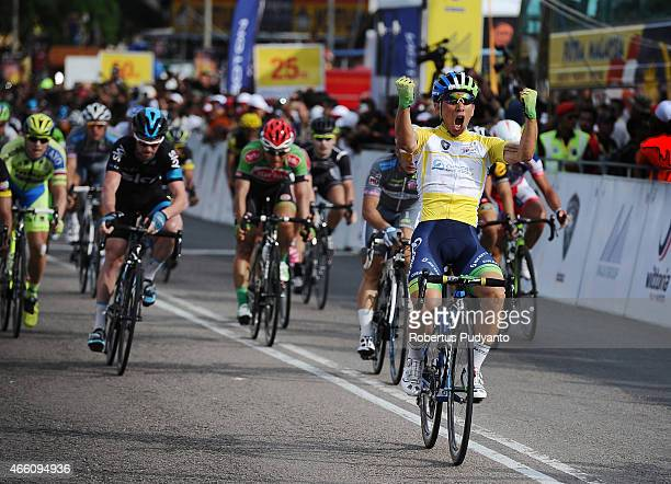 Caleb Ewan of Orica Greenedge reacts after winning Stage 6 of the 2015 Le Tour de Langkawi from Maran to Karak with a distance of 966 km on March 13...