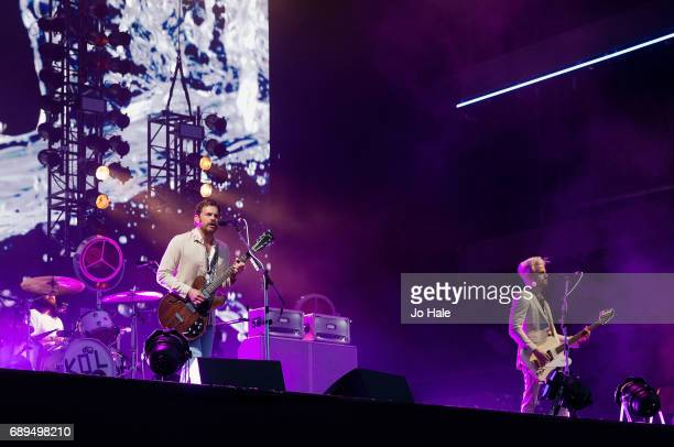 Caleb Followill and Jared Followill of Kings of Leon headline and perform on stage on Day 2 of BBC Radio 1's Big Weekend 2017 at Burton Constable...