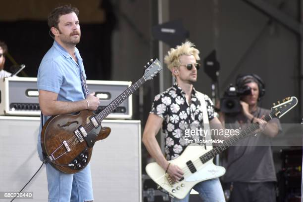 Caleb Followill and Jared Followill of Kings of Leon perform during the 2017 New Orleans Jazz Heritage Festival at Fair Grounds Race Course on May 7...