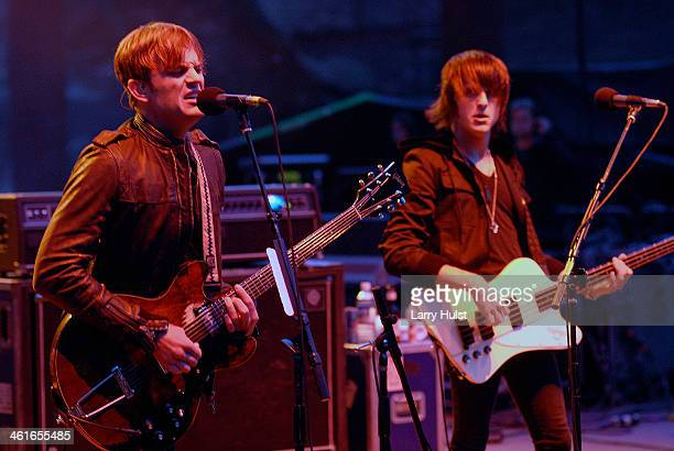 Caleb Followill and Jared Followill performs with 'The Kings of Leon' at the Red Rocks Amplitaheater in Morrison Colorado on September 14 2007