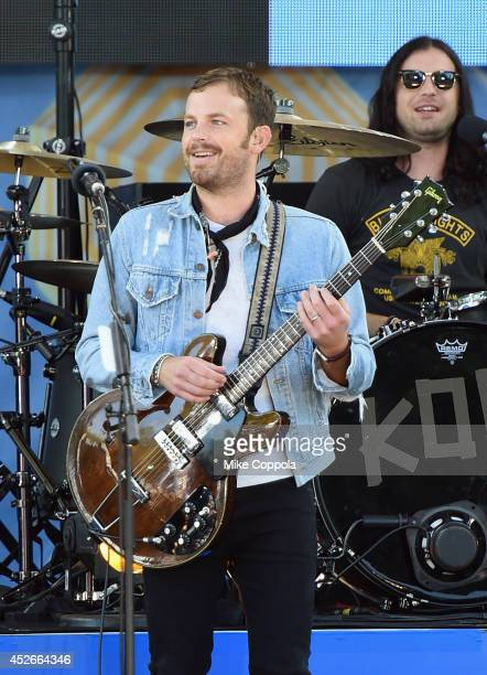 Caleb Followill and Nathan Followill from the band Kings of Leon perform On ABC's 'Good Morning America' at Rumsey Playfield Central Park on July 25...