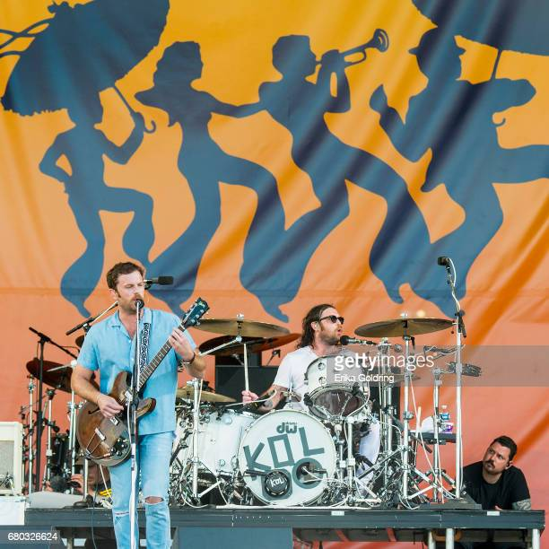 Caleb Followill and Nathan Followill of Kings of Leon perform during the 2017 New Orleans Jazz Heritage Festival at Fair Grounds Race Course on May 7...