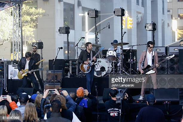 Caleb Followill Matthew Folowill Jared Folowill and Nathan Folowill of Kings Of Leon perform On NBC's 'Today' at Rockefeller Plaza on October 14 2016...