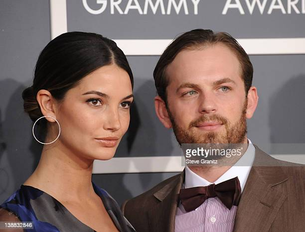 Caleb Followill of Kings of Leon and Lily Aldridge arrives at The 54th Annual GRAMMY Awards at Staples Center on February 12 2012 in Los Angeles...