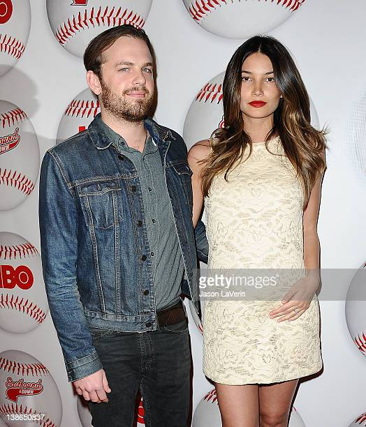 Caleb Followill of Kings of Leon and Lily Aldridge attend the season 3 premiere of HBO's 'Eastbound And Down' at cinespace on February 9 2012 in...