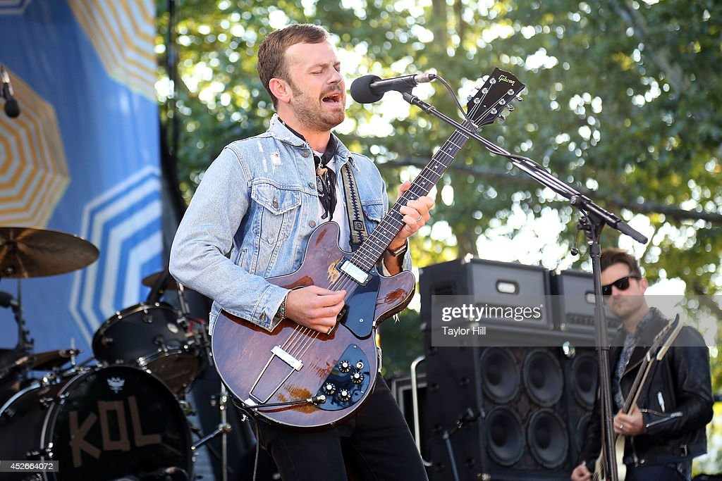 <a gi-track='captionPersonalityLinkClicked' href=/galleries/search?phrase=Caleb+Followill&family=editorial&specificpeople=210594 ng-click='$event.stopPropagation()'>Caleb Followill</a> of Kings of Leon erforms On ABC's 'Good Morning America' at Rumsey Playfield, Central Park on July 25, 2014 in New York City.