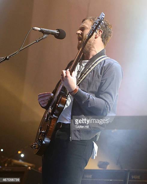 Caleb Followill of Kings of Leon performs in concert during the 'Mechanical Bull' tour at Philips Arena on February 5 2014 in Atlanta Georgia
