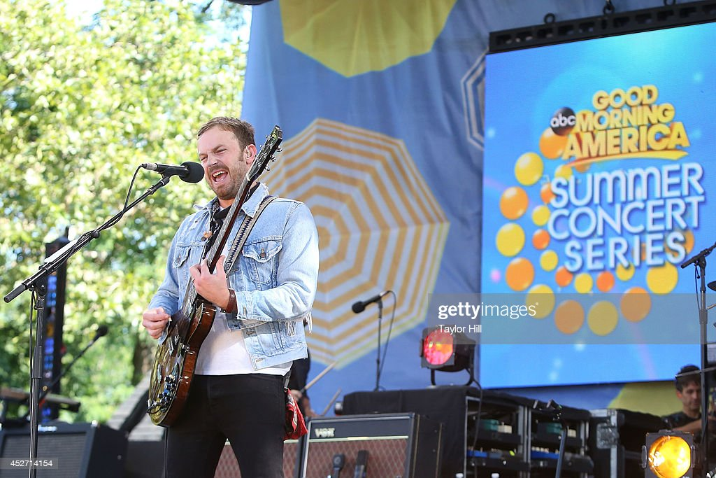 <a gi-track='captionPersonalityLinkClicked' href=/galleries/search?phrase=Caleb+Followill&family=editorial&specificpeople=210594 ng-click='$event.stopPropagation()'>Caleb Followill</a> of Kings of Leon performs on ABC's 'Good Morning America' at Rumsey Playfield, Central Park on July 25, 2014 in New York City.