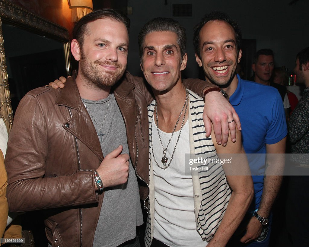 Caleb Followill of Kings of Leon Perry Farrell of Jane's Addiction and Albert Hammond Jr of The Strokes attend Stones Fest NYC at the Bowery Ballroom...