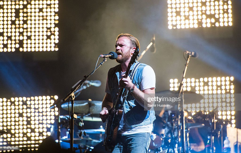 <a gi-track='captionPersonalityLinkClicked' href=/galleries/search?phrase=Caleb+Followill&family=editorial&specificpeople=210594 ng-click='$event.stopPropagation()'>Caleb Followill</a> of the Kings of Leon performs live on the Virgin Media Stage on day 2 of V Festival at Hylands Park on August 18, 2013 in Chelmsford, England.