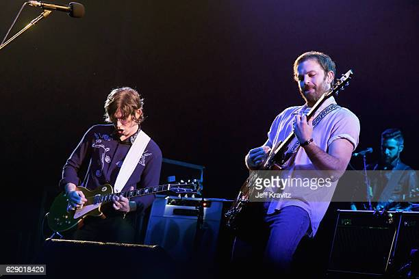 Caleb Followill right and Matthew Followill of the band Kings of Leon perform onstage at 1067 KROQ Almost Acoustic Christmas 2016 Night 1 at The...
