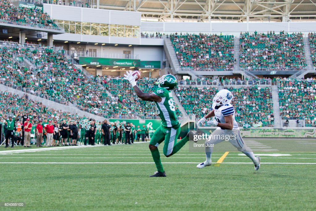 Caleb Holley #88 of the Saskatchewan Roughriders makes a touchdown catch late in the game between the Toronto Argonauts and Saskatchewan Roughriders at Mosaic Stadium on July 29, 2017 in Regina, Canada.