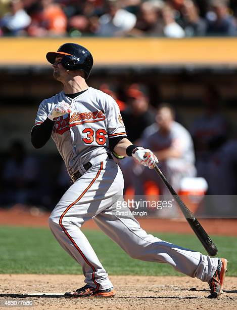 Caleb Joseph of the Baltimore Orioles bats against the Oakland Athletics during the game at Oco Coliseum on Wednesday August 5 2015 in Oakland...